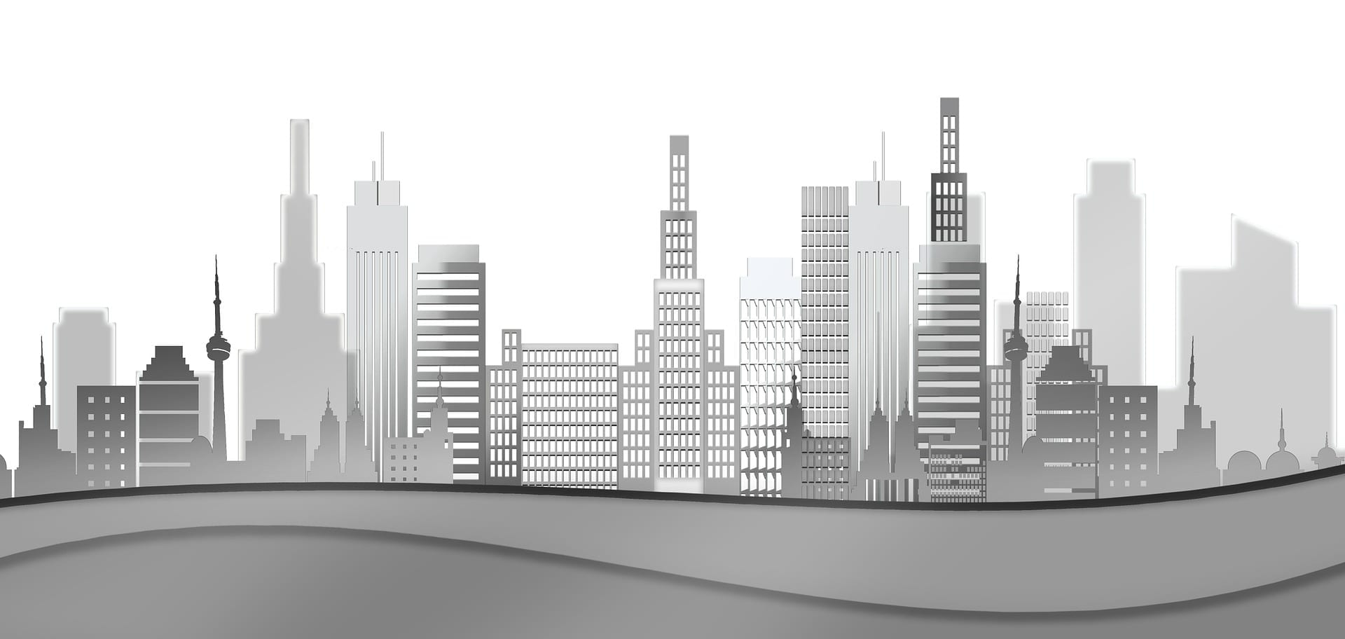 Computer generated city skyline showing commercial property