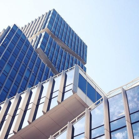 financial buildings shot from below